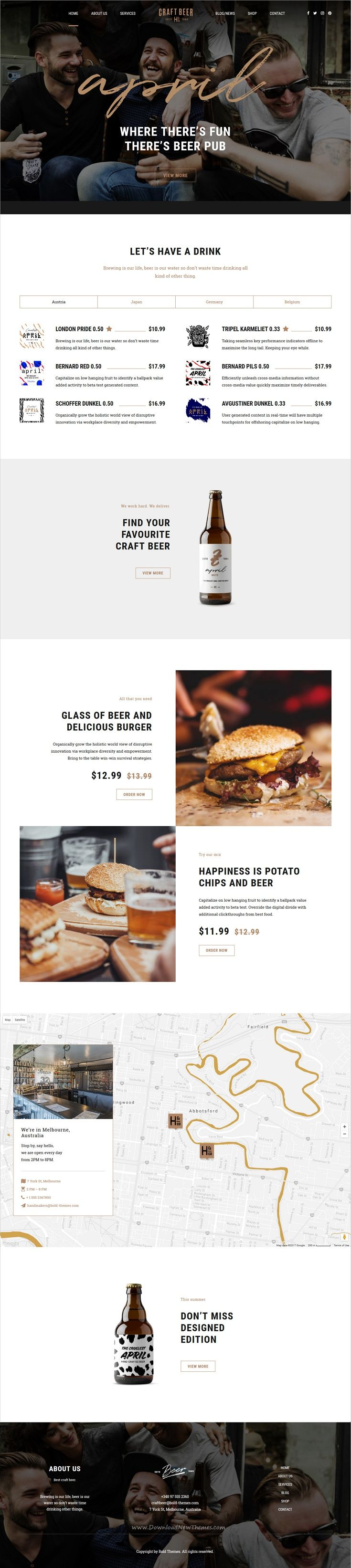 Craft Beer is clean and modern design 6in1 responsive #WordPress theme for #brewery, #beer house, #pub or liquor shop eCommerce website download now..