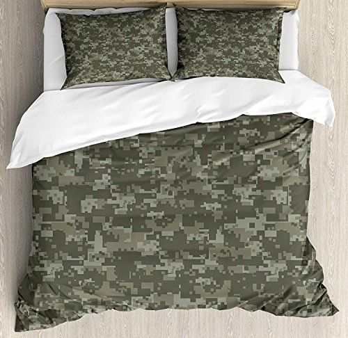 Bedding Printed Duvet Cover Set Camouflage 4 Piece King Size