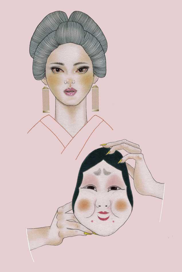 Geisha and her Otafuku mask, by Ísis Seika