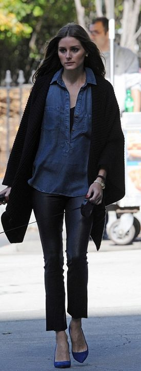 Who made  Olivia Palermo' denim button down top?
