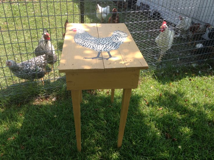 Rustic Table Painted With The Color Arles And Stylish Chicken Stenciled  With Graphite, Old White