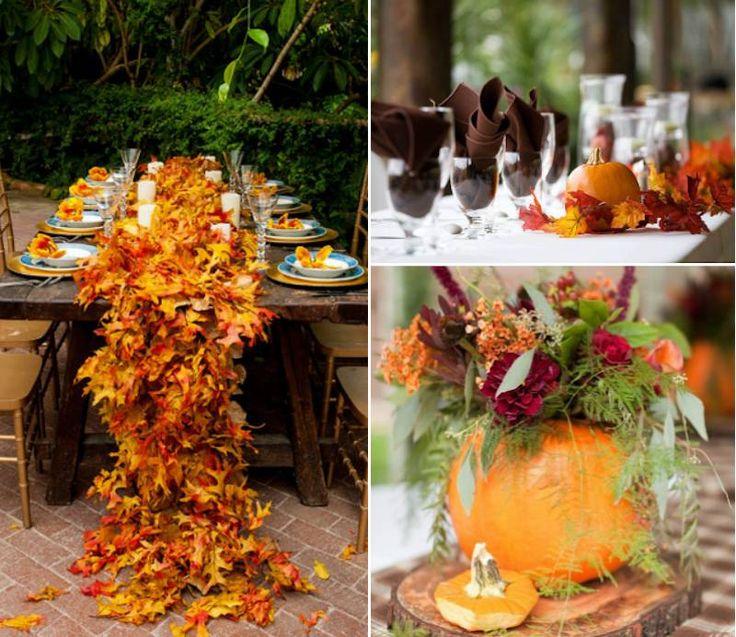 ... table pas chère en feuilles et citrouilles pour un mariage dautomne