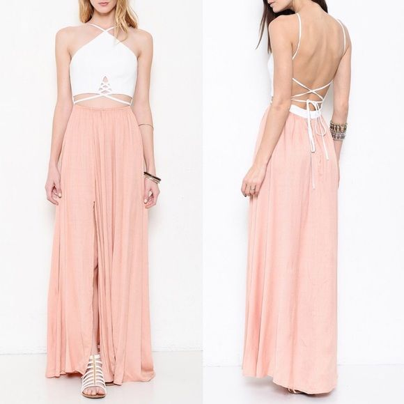 SAHARA Criss cross Back tie dress - PEACH Gorgeous maxi dress with y neckline. Criss cross front & back with back tie. Sexy side slit. Oh so sexy! Feel like a complete goddess rocking this stunner. Available in grey or almond (peach color). NO TRADE, PRICE FIRM Bellanblue Dresses Maxi