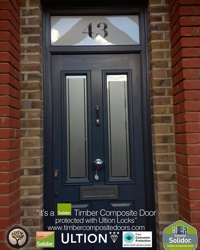 Anthracite Grey Ludlow with Top Light Solidor Timber Composite Door, from TimberCompositeDoors.com with 12 Months 0% Interest Free Credit, fitted to any postcode in the UK secured with Ultion 3 star diamond locks as standard. Design, Price & Order yours online today
