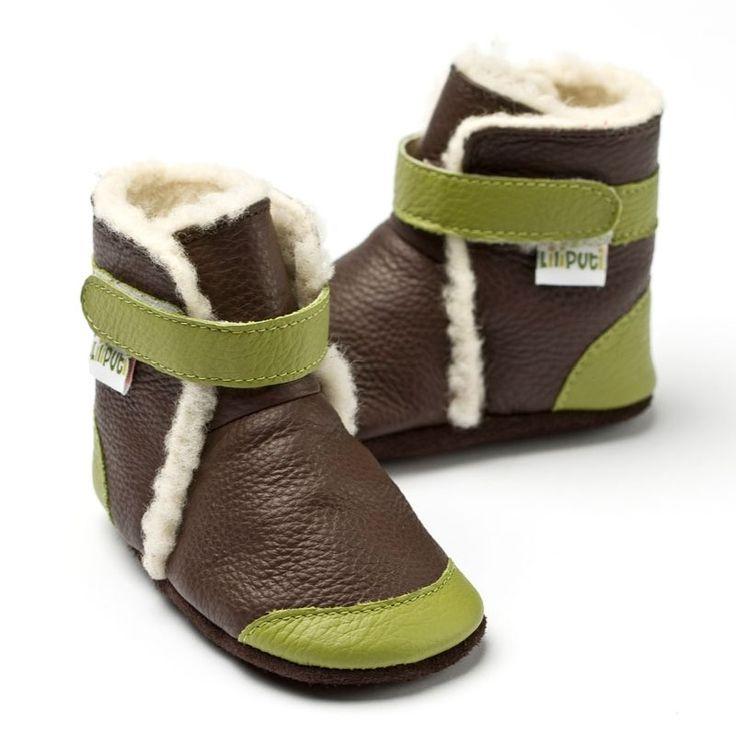Liliputi® soft soled booties Antarctic Brown | Liliputi baby shop #babybooties #liliputi #soft
