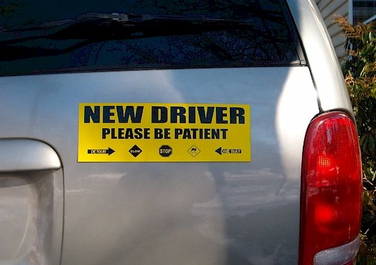 A reusable magnetic bumper sticker that promotes new driver safety and awareness.