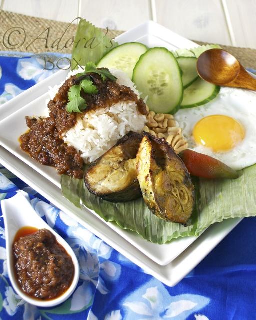 TAMARIND FISH AND COCONUT RICE (NASI LEMAK)