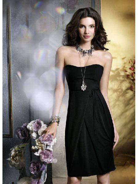 Sweetheart Black Tea Length Chiffon Simple Bridesmaid Dress