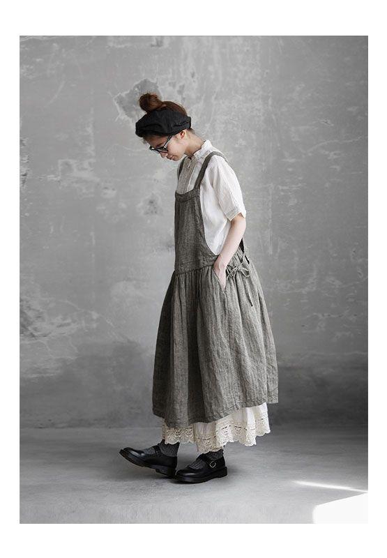 BerryStyle | 라쿠텐 일본: Joie de Vivre 프렌치 린넨 헤링본 오버 다이 에이프런 원피스