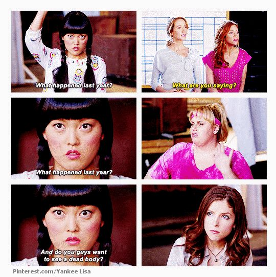Haha! Lily (asian), Aubrey (blonde), Chloe (ginger), Fat Amy (you should know that one...haha), and Beca (brunett). Pitch Perfect.