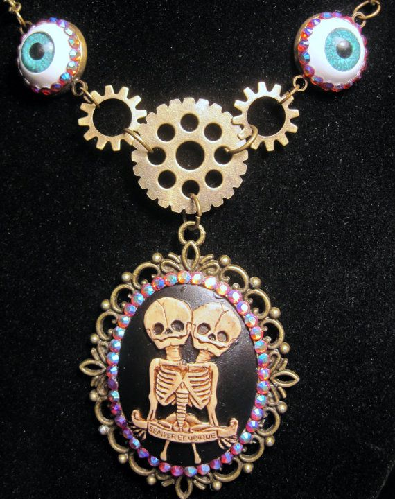 Siamese Twins Freak Show Skeleton Cameo Necklace by SlinkSkull. I just want the pendant Eyeballs are overkill.