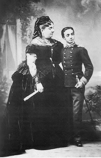 Spain. HM Queen Isabella II of Spain with son, His Royal Highness Prince Alfonso of Spain