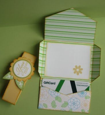 Gift card holder made with the envelope punch board - includes link to template