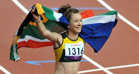 Anrune Liebenberg became the final woman medalist for South Africa at the London 2012 Paralympic Games, when she won Silver in the 400m (T46) in the Olympic Stadium, on Saturday, 8 September, 2012. In this image, Liebenberg celebrates after winning bronze in the 200m T46, at the Olympic Stadium in London, on 1 September. Photo: Wessel Oosthuizen / SASPA