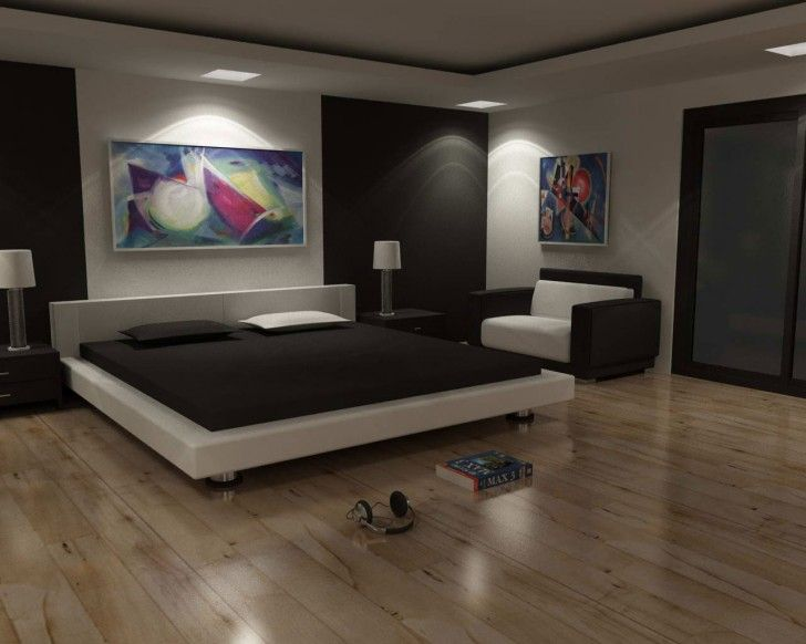 Bedroom:Modern Bedroom: Minimalist Style Bedroom Become The Greatest Idea Amazing Modern Bedroom Design Black Bed White Pillow Laminate Wood...