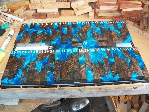 Australian Palm Root PEN blanks - Resifill - Stabilized blue, Palm root blanks, Palm root Resifills,