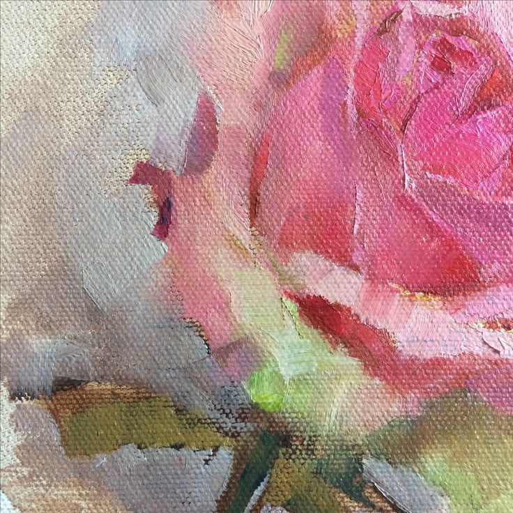 Detail of A Rose is a Rose by Heidi Hjort. Rose painting, oil 2017 | Shabby Chic Art