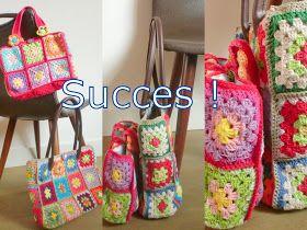 Gratis patroon granny square tas haken / Free pattern granny square  bag crochet