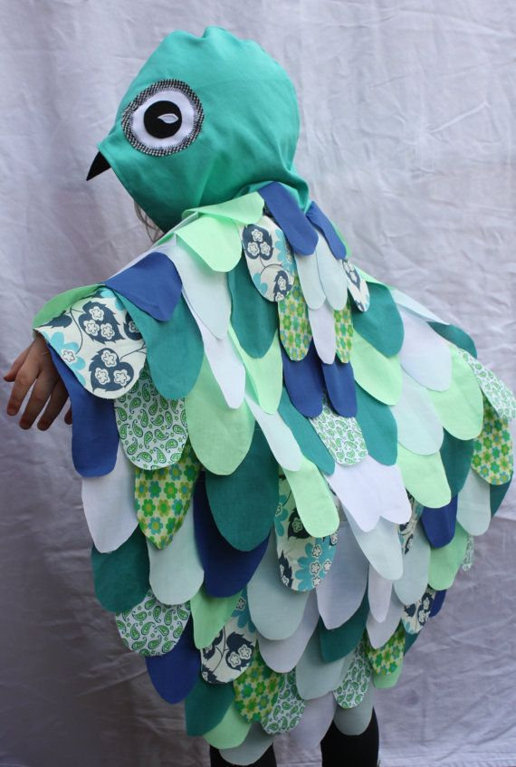 Aqua Owl Cape  Childrens Costume  girls by sparrowandbcostumery