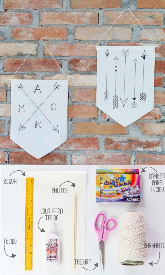 Aprenda a fazer uma bandeirinha para decorar a sua parede. Esse passo a passo é bem simples e qualquer um pode fazer!