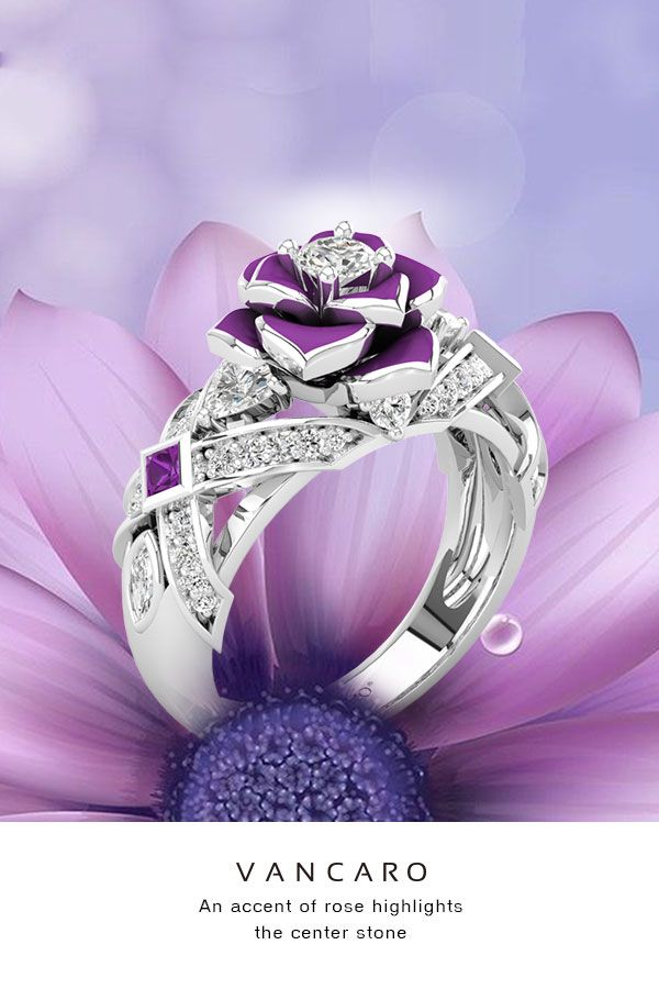 Unique Rose Promise Rings For Her Purple Rose Flower Design