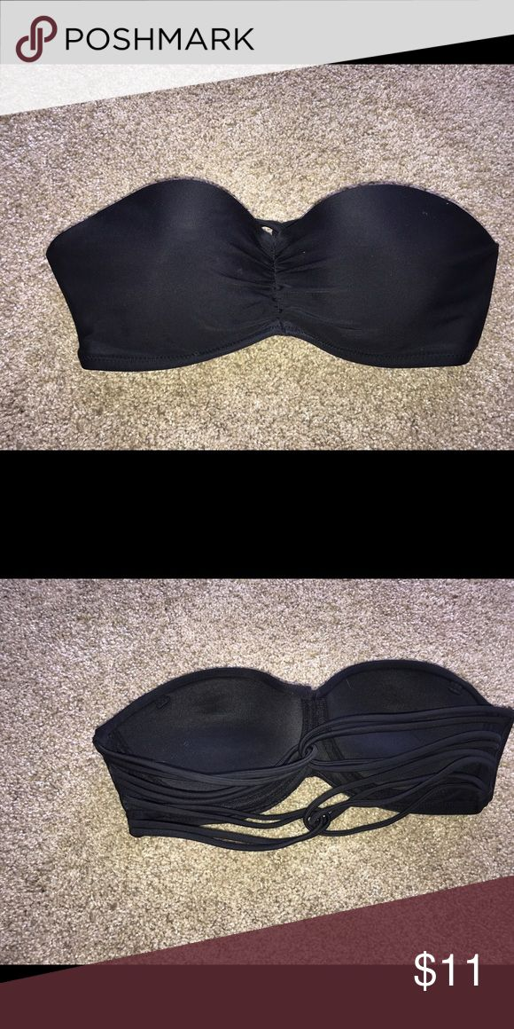 Black bandeau top Small bikini top. Used but still in great condition and is now too small for me. I'd recommend for a B cup or lower because it is small Xhilaration Swim Bikinis
