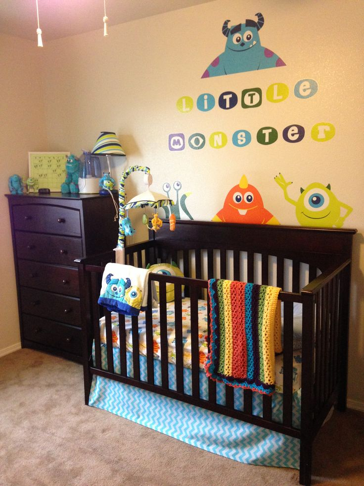 Monsters Inc themed nursery for Andrew. Made no-sew crib skirt myself from watching a YouTube tutorial