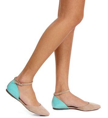 Blush/Mint Ankle Strap Flats