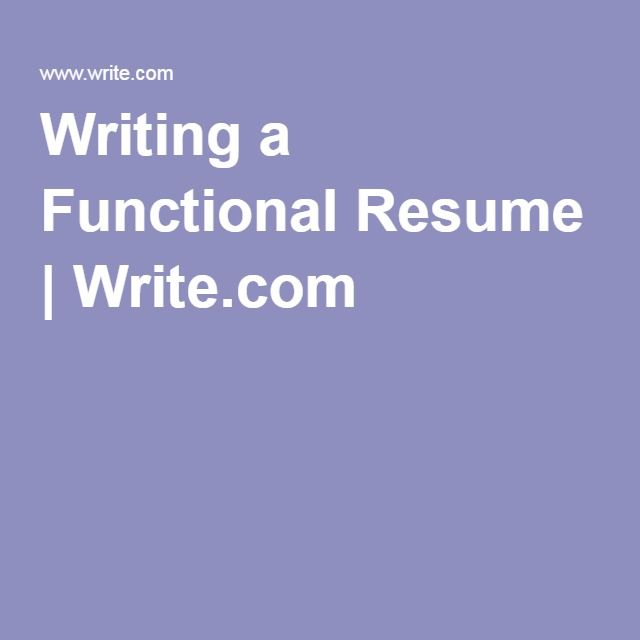 writing a functional resume writecom
