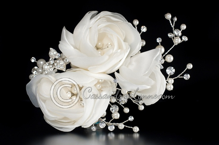 Wedding Clip of Satin Organza Flowers Pearls & Rhinestones