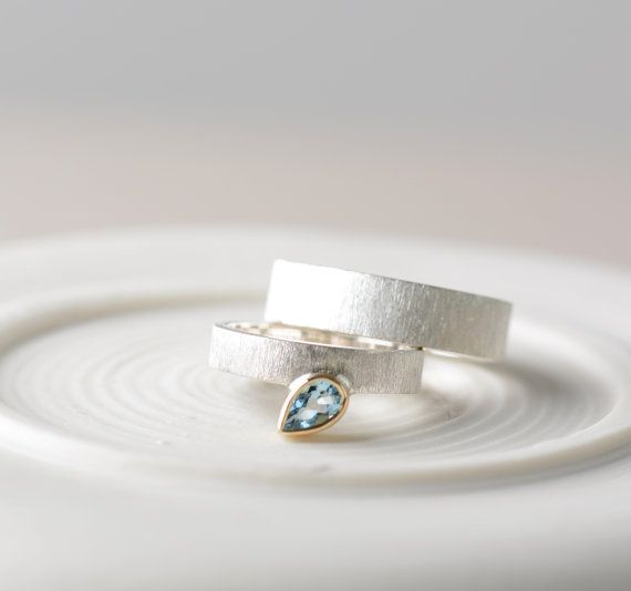 Wedding bands his and hers aquamarine wedding bands by ClaudiaLlop