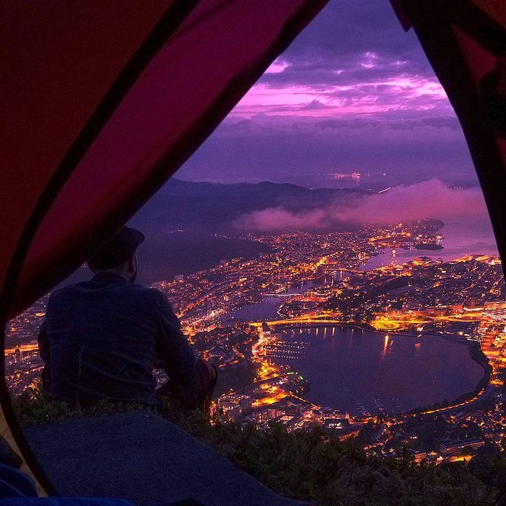LOVE this picture (by H.E Øverland, link to his instagram profile)!!  View from the tent at Ulriken, Bergen, Norway