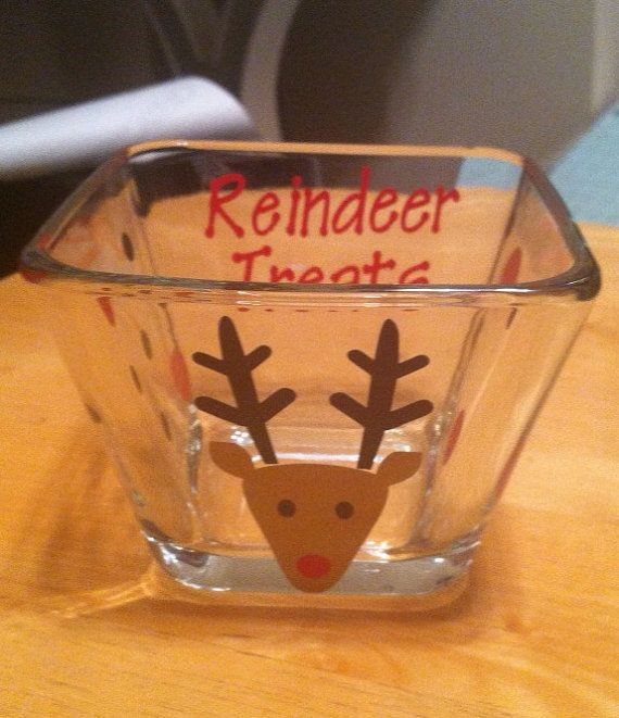 Small dollar tree bowls and then reindeer stickers? Maybe vinyl? I'd have to see what I could find.