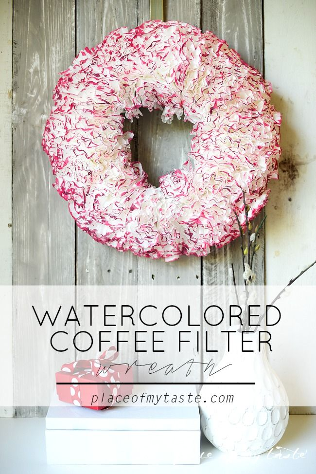 Valentine's day is upon us. Make this stunning coffee filter wreath to pretty up your front door! Valentine's day decor.