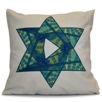 """The Holiday Aisle Hanukkah 2016 Decorative Holiday Geometric Outdoor Throw Pillow Size: 16"""" H x 16"""" W x 2"""" D, Color: Teal"""
