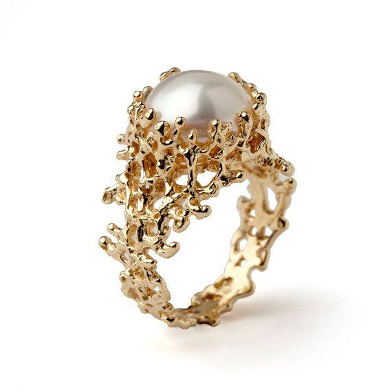 CORAL Anel de Ouro Pérola, Gold Pearl anel de noivado, Orgânico anel de ouro, anel grande pérola, de água doce Anel Pérola