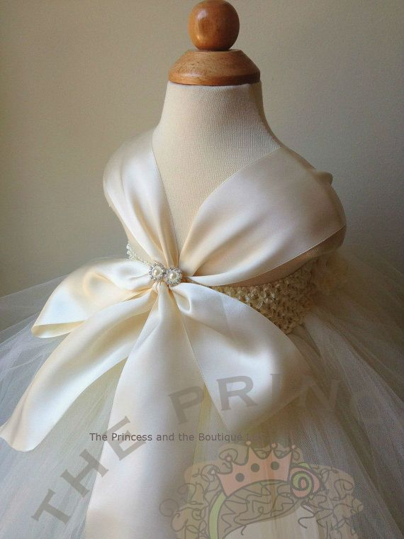 Ivory and champagne flower girl dress with by Theprincessandthebou