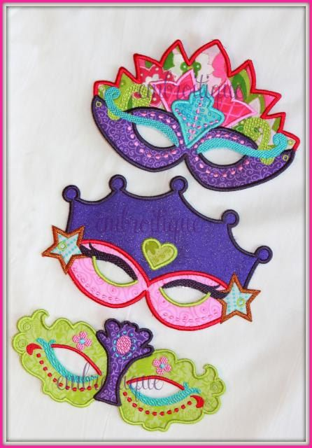 In The Hoop -Princess Mask set - Halloween - Mardi Gras - Machine embroidery design applique. $6.99, via Etsy.