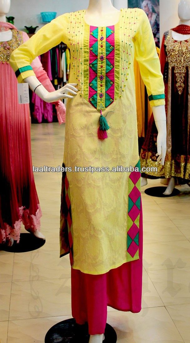 Yellow designer pakistani indian long kurta with deep pink plazzo for girls 2014