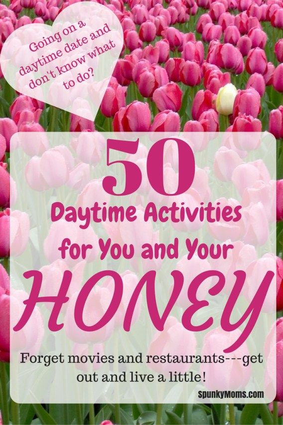 Is your dating life in a rut? Have you run out of things to do together on your days off? Whether you're married and ready to try new things, or you're going on your first date, here are 50 daytime date ideas. Inject some fun and adventure into your dating life today! http://spunkymoms.com/date