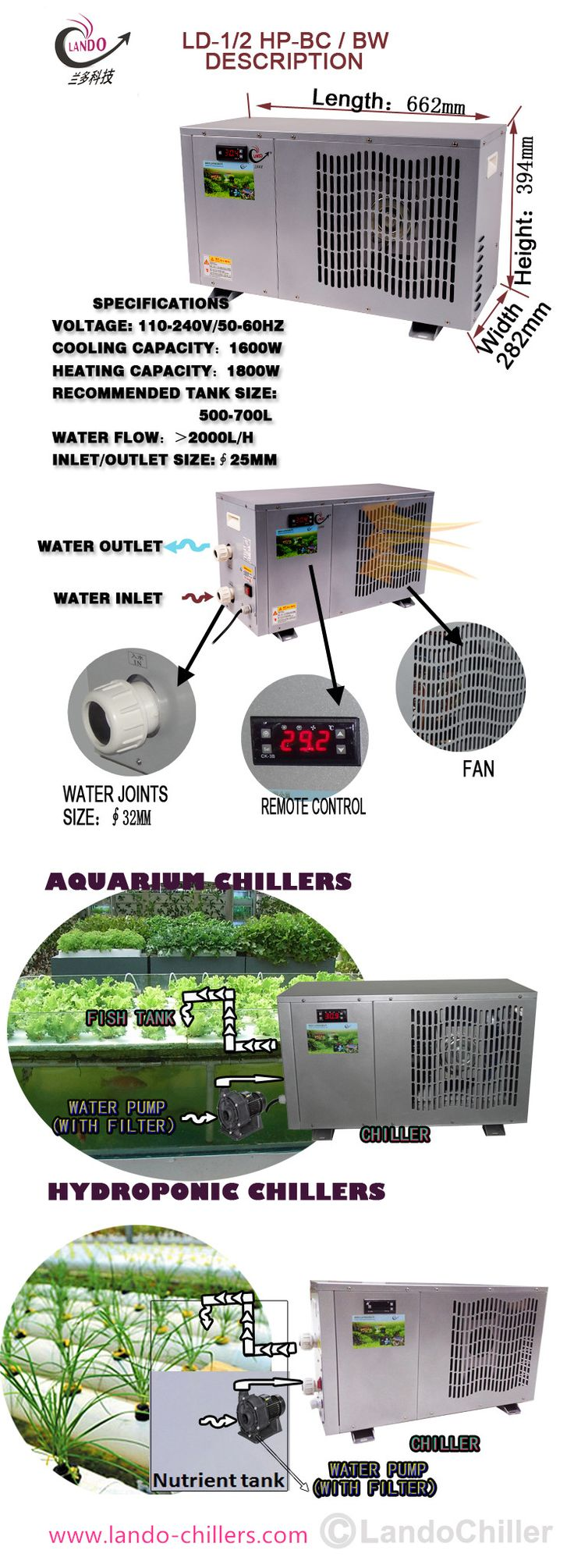 The Best Water Chillers For Aquariums . LANDO company supply Small Cheap Aquarium Water Chillers Cool Fish Tanks 1/13 HP to 5 HP . manufactures titanium chillers with water chillers systems are powerful cooling systems for both freshwater and saltwater aquariums.  #AquariumWaterChillers #Aquariumchillers #AquariumWasserkühler #水族館水チラー
