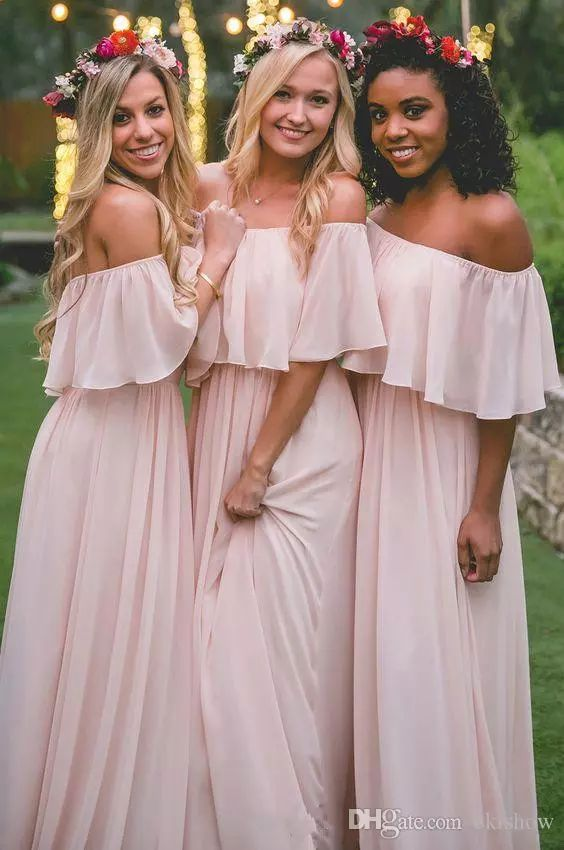 2017 New Elegant Light Pink Chiffon Off The Shoulder Bohemian Long Bridesmaid Dresses Floor Length Party Evening Custom Made