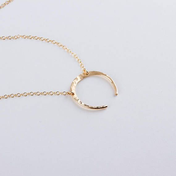 Moon Necklace Upside Down Moon Necklace Crescent Moon