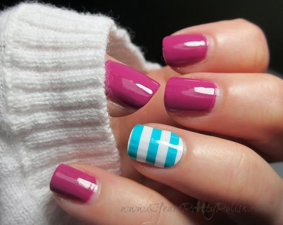 summer nails. I'd do red instead of pink but I love the blue and white stripes!