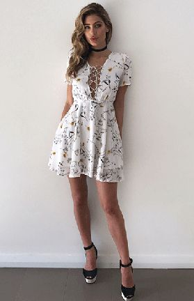 CALLIE DRESS - WHITE PRINT