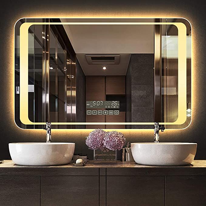 Led Bathroom Mirror Multifunctional Wall Mounted Makeup Mirror Touch Button Stepless Adjustment Warm White Light Led Mirror Bathroom Bathroom Mirror Mirror