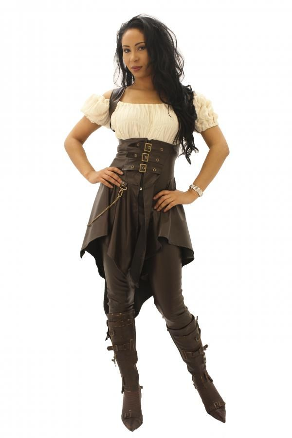 Phaze Underbust Steampunk Jacket Corset Belt Brown Leather Look