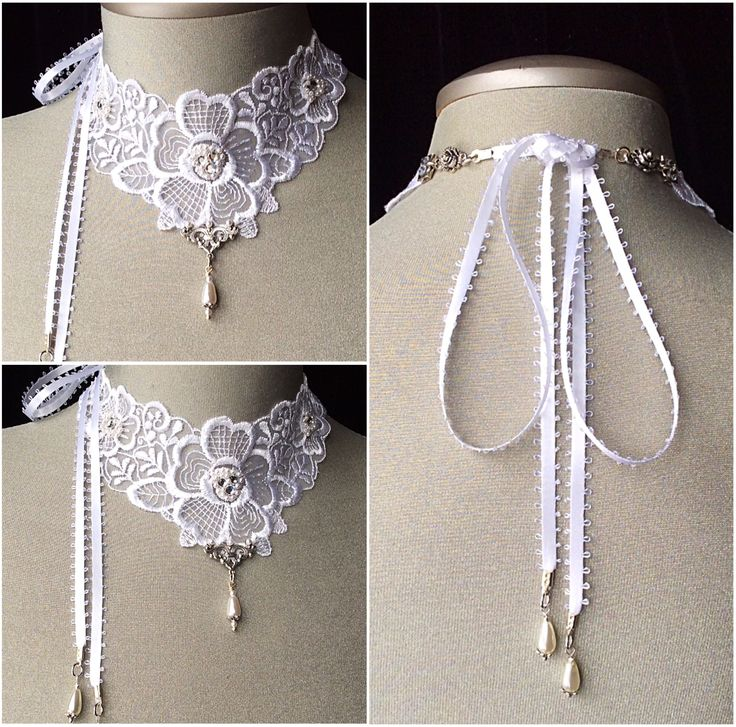 Bridal white lace choker necklace - www.veronicarosedesigns.etsy.com