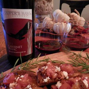October 17, 2014 - Cooper's Hawk Vineyards 2013 Cabernet Franc and Crostini with Savory Tomato, Bacon & Apple Jam.  Perfect Pair! Nothing is better than bacon and Cooper's Hawk 2013 Cabernet Franc!  This toasty pair will make you fall in love!  Bam!  - See more at: http://www.essexcountywineries.ca/wines/2015/20151018.htm#sthash.mZfP40Do.dpuf