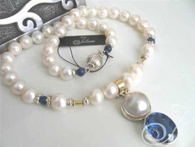 26ct London Blue Topaz and Mabe necklace with pearls, sterling and lapis